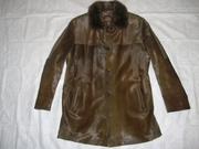 Мужское кожаное полу-пальто на меху.